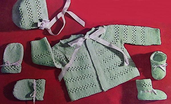 Knit Baby Lace Stitch Jacket Hat Booties Mittens Knitting Pattern