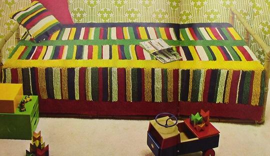 Bulky Yarn Knitted Blanket Cushions Vintage Pattern Beginner Level