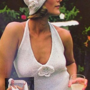 Knitted Summer Halter and Hat Pattern Vintage Sport Yarn Stockinette Stitch Sizes S, M