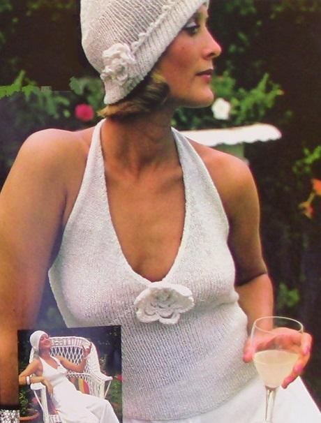 Knitted Summer Halter and Hat Pattern Vintage Sport Yarn Stockinette Stitch Sizes S, M