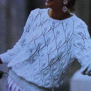 Openwork Leaf Sweater Size M, L - DK 3 Ply Yarn Knitting Pattern