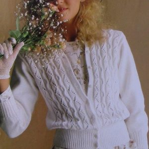 Summer Top - Openwork, Lace, Cable Stitches - Cardigan Sizes S, M, L - DK 3 Ply Yarn - Vintage Knitting Pattern
