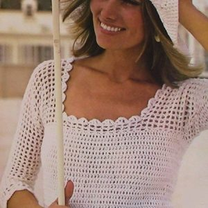 Lacy Crochet Blouse and Hat Sport Yarn Size XS, S Vintage Pattern