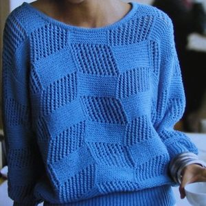 Women's Pullover Openwork and Stockinette Stitch Size M, L - Knitting Pattern DK 3 Ply Yarn