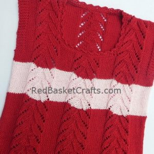 Knitted Lace Leaf Summer Vest Knitting Pattern Size S, M, L, XL, 2X
