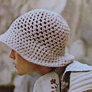 Mesh Crochet Summer Narrow Brim - One Size Fits All - Hat Pattern Vintage