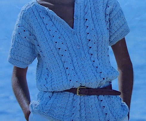 Cable Leaf Stitch Summer Jumper Knitting Pattern Vintage 4 Ply Yarn Size S, M, L