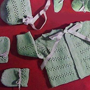Baby Lace Jacket Hat Booties Bonnet Mittens Sport Yarn Knitting Pattern