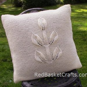 Cushion in Leaf Stitch Pattern Square Chunky 5 Ply Yarn Knitting Pattern