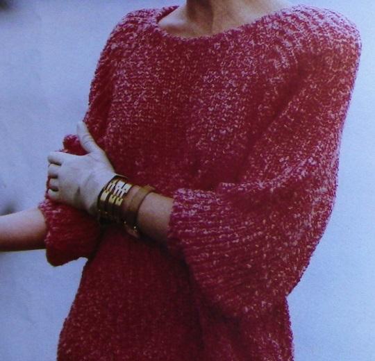 Rib Stitch Pullover - Worsted Yarn - Size L, XL, XXL - Knitting Pattern Vintage