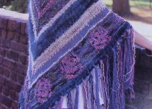 Large Shawl - Fair-Isle Style Flowers - 5 Ply Chunky Yarn - Knitting Pattern Intermediate