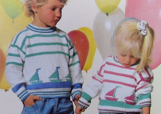 Sweater For Kids - Sizes 4, 6, 8 - 3 Ply DK Yarn - Knitting Pattern