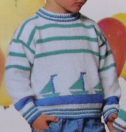 Pullover With Sailboat For Kids - Sizes 4, 6, 8 - 3 Ply DK Yarn - Knitting Pattern