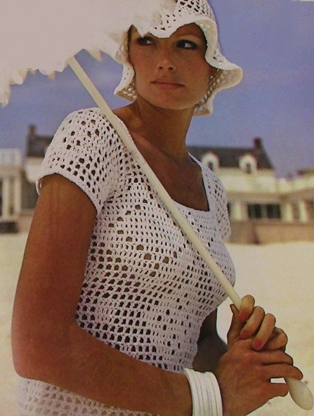 Short Sleeves Summer Top Hat Summer Crochet Pattern DK or Sport Yarn Size XS, S