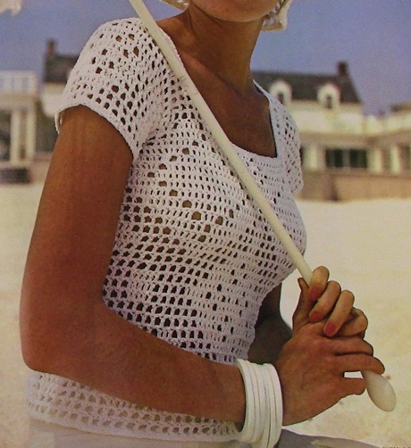 Short Sleeved Summer Blouse and Hat Filet Crochet Lace - Vintage Pattern - DK or Sport Yarn - Sizes XS, S