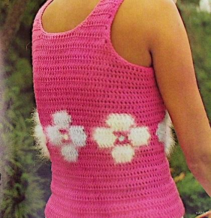 Sleeveless Summer Tank Top Flower Deco Crochet Pattern Sport Yarn For Teens Women XS, S, M