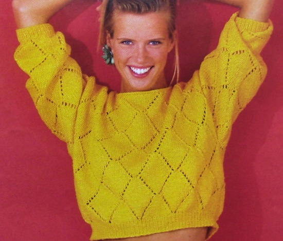 Lace Sweater Spring Summer 4 Ply Worsted Yarn Knitting Pattern