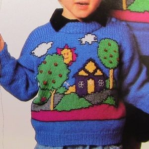 Sweater Home Trees, Sun, Cloud, House Motif - DK Yarn 3 Ply - Sizes 2, 4, 6, 8, 10, 12, 14 - Knitting Pattern Vintage 1980s