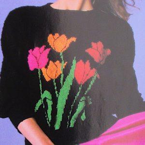 Tulip Bunch Pullover Long Sleeves DK 3 Ply Yarn Knitting Pattern