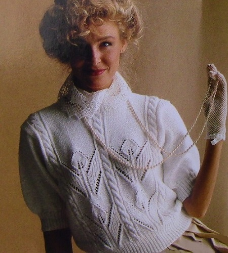 Summer Top Size S, M, L - Cable Stitch - Openwork Leaf Stitch Cables - DK 3 Ply Yarn - Knitting Pattern