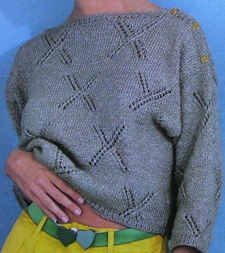 X-Lace Pullover Worsted 4 Ply Yarn Sizes L, XL, XXL - Knitting Pattern Vintage