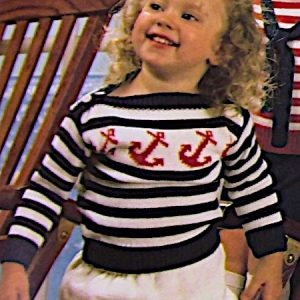 Nautical Theme Kids Pullovers, Dress, Skirt, Shorts - Sizes: 6 months, 1 yr, 2, 4 and 6 yrs - Baby Yarn - Knitting Pattern