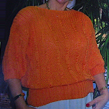 Spring, Summer Sweater in Cable, Seed Stitches, Boatneck - Sizes M, L, XL - 4 Ply Worsted Yarn - Vintage Knitting Pattern