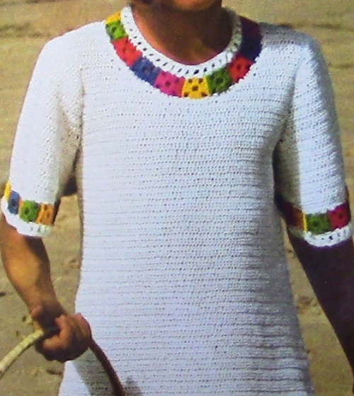Multicolor Accent Dress Girl's- Sizes 8, 10, 12 - Crochet Pattern Vintage