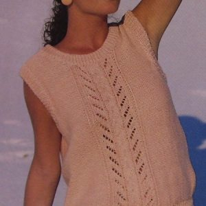 Women's Summer Top in Cable and Lace Stitches - 6 Sizes - DK 3 Ply Yarn - Vintage Knitting Pattern