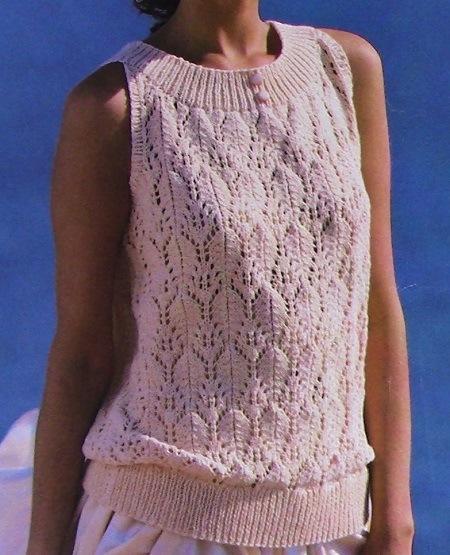 Summer Top Leaf Stitch - DK Yarn - Size S, M, L - Knitting Pattern