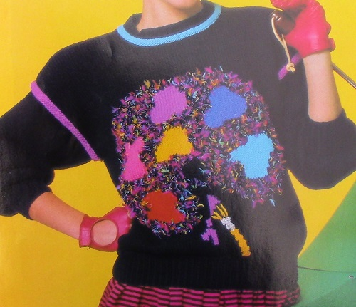 Tree Motif Pullover From 4 Ply Worsted Yarn - Sizes S, M, L - Vintage Knitting Pattern