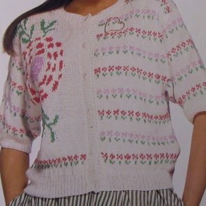 Fair-Isle Flower Style Women's Summer Cardigan - Sizes S, M, L - DK Yarn - Knitting Pattern