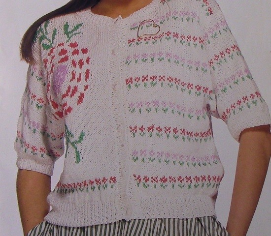 Fair-Isle Flower Style Women's Summer Cardigan - Sizes S, M, L - DK Yarn - Knitting Pattern