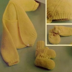 4 Piece Baby Layette - Sizes 6 Months, 1 Year - Baby Yarn - Vintage Knitting Pattern Vintage