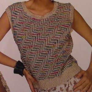 Women's Multicolored Summer Top Vest - Sizes S, M, L - 4 Ply Worsted Yarn - Knitting Pattern