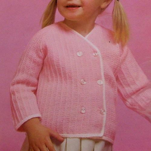 Kids Girls Cardigan - Toddler - Sizes 1-2 and 3-4 - Knitting Pattern