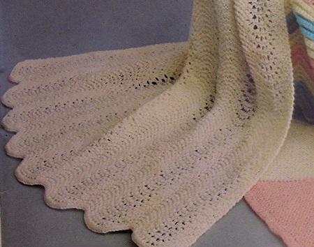 Ripple Stitch Baby Blanket Knitting Pattern - Fingering Yarn