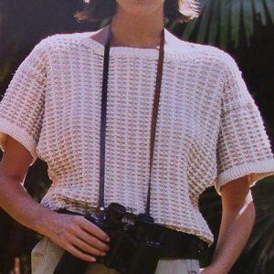 Two-Color Women's Summer Sweater - Jacquard, Ladder Stitch - Sizes S, M, L - Sport Yarn - Knitting Pattern
