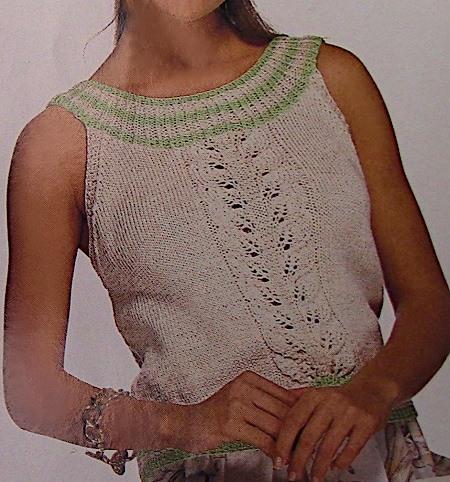 Leaf Stitch Summer Top - Women's Sizes S, M, L, XL - DK Yarn - Knitting Pattern