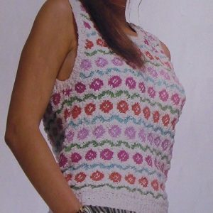 Flower Motifs Women's Summer Top Vest - Sizes S, M, L - DK Yarn -Knitting Pattern