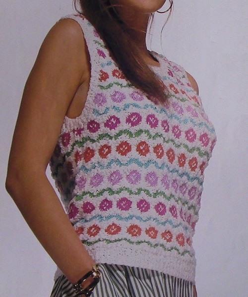 Flower Motifs Women's Summer Top Vest - Sizes S, M, L - DK Yarn - Knitting Pattern