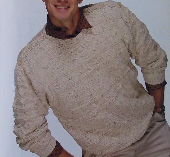 Men's Pullover Texture Stitch - DK Yarn - Sizes S, M, L - Knitting Pattern
