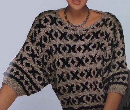 Oversized Pullover Fair-Isle Geometry - Sizes S, M, L - DK Yarn - Knitting Pattern