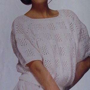 Lace Stitch Openwork Pullover -Sizes M, L - DK 3 Ply Yarn - Vintage Knitting Pattern