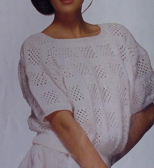 Lace Stitch Openwork Pullover -Sizes M, L - DK 3 Ply Yarn - Vintage Knitting Pattern