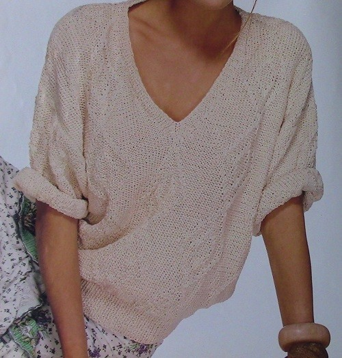 Textured Women's Summer Sweater - Sizes S, M, L - Worsted 4 Ply Yarn - Knitting Pattern