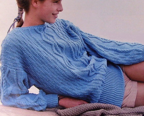 Women's Textured Cable Sweater - Long Sleeves - Sizes S/M, L, XL - DK Yarn - Vintage Knitting Pattern