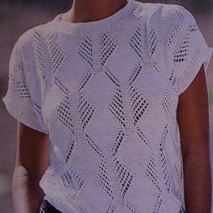 Women's Summer Top - Graphic Lace Stitch, Short Sleeves - Sizes M, L - DK Yarn - Vintage Knitting Pattern