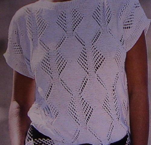 Women's Summer Top - Openwork Stitch, Short Sleeves - Sizes M, L - DK Yarn - Vintage Knitting Pattern