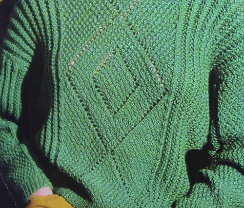 Pullover Long Sleeves Boat Neck - Vintage Knitting Pattern - 4 Ply Worsted Yarn - Size S/M, L - Lace Motif Texture Stitch